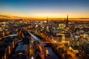 Hamburg Luftbild bei Nacht